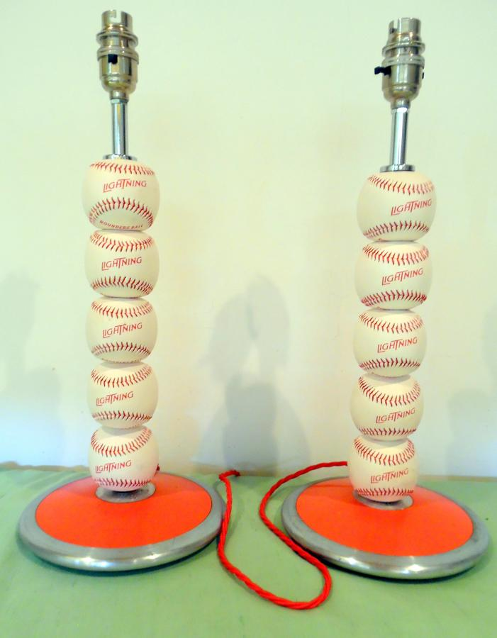 Red and white rounders ball lamps