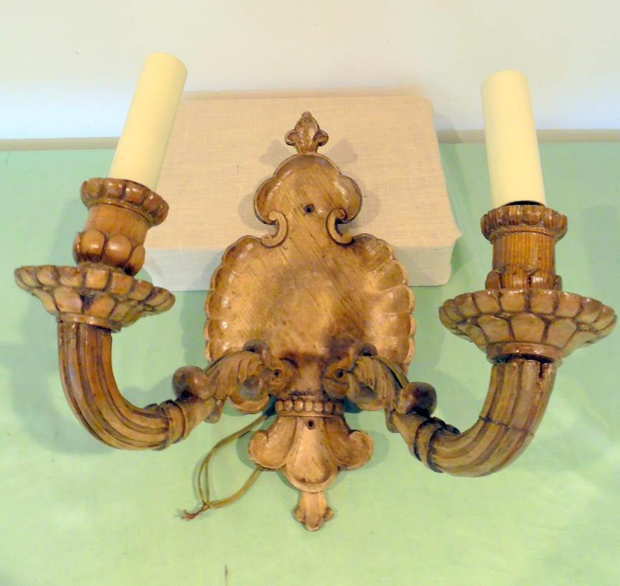 Pale wood 2-arm wall sconce