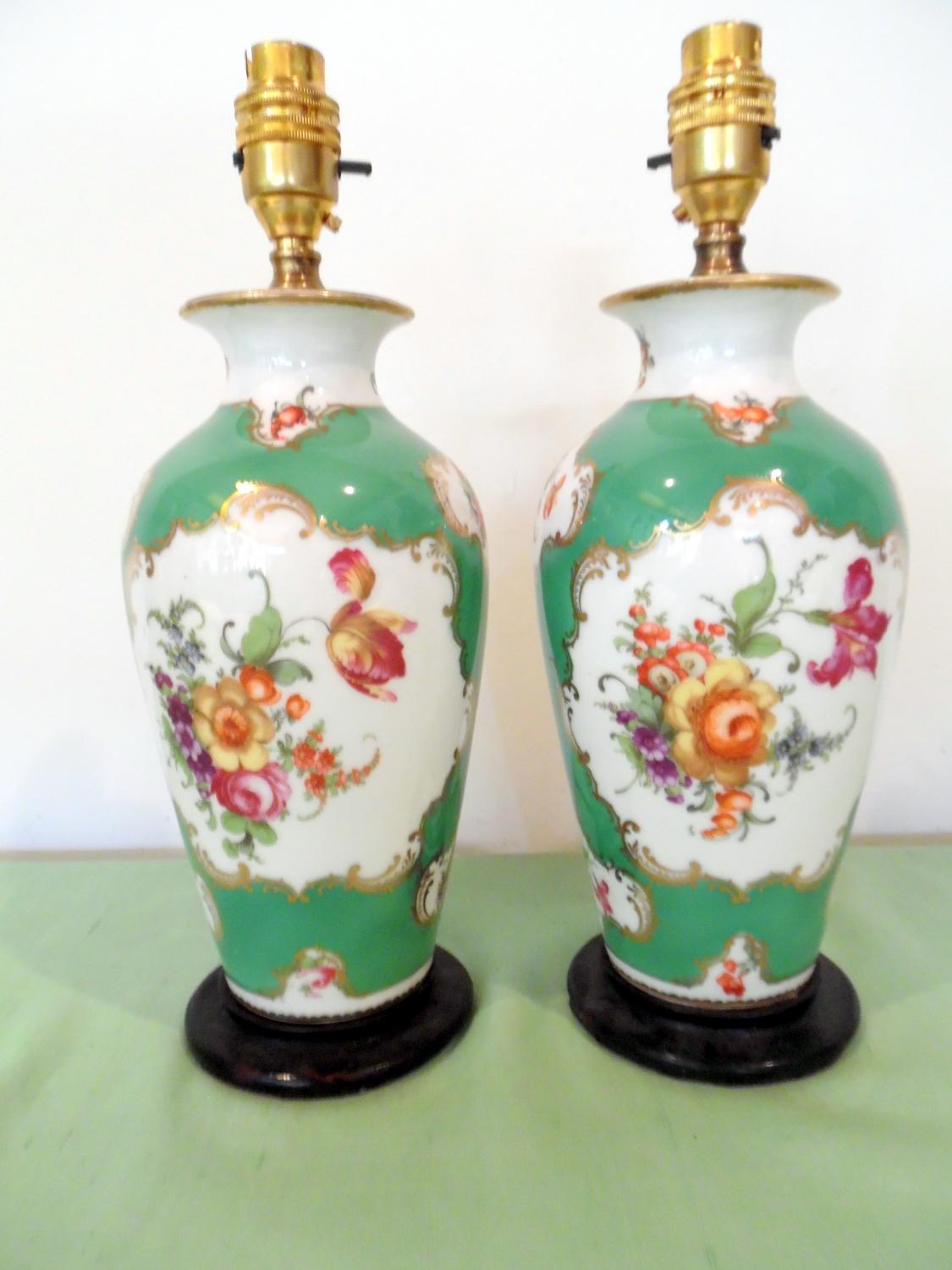 Green floral porcelain lamps
