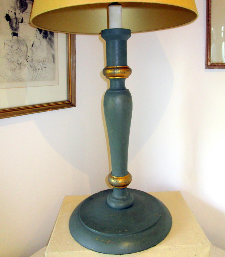 Oversize candlestick, sage green and gold