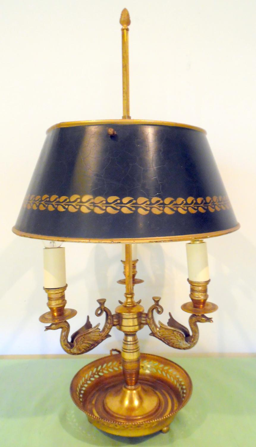 Gilt Bouillotte lamp with tole shade