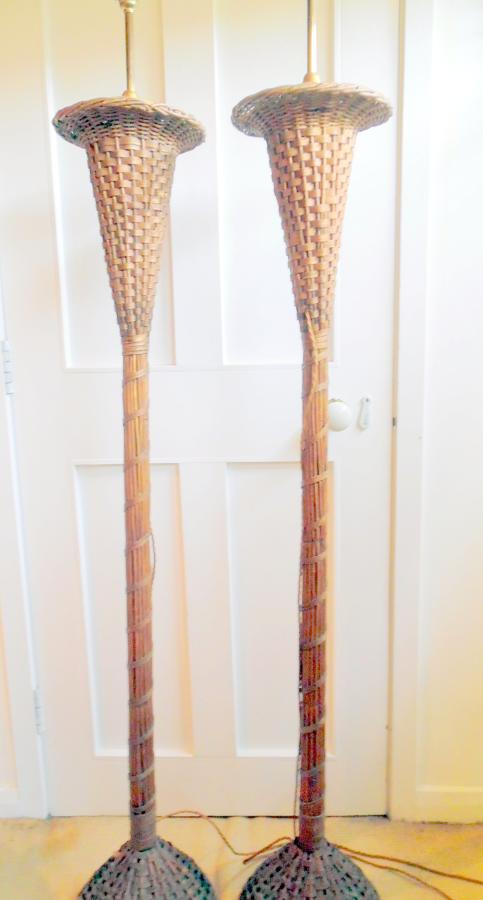 Pair woven cane standard lamps
