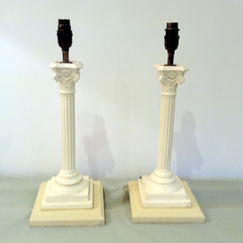 Pair Creamware columns c1890
