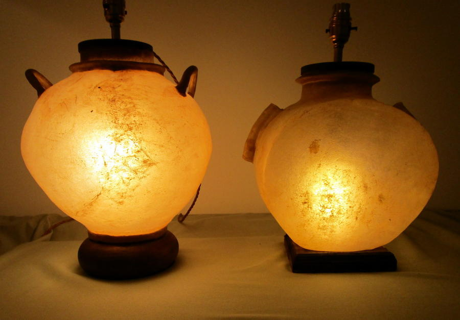 Two 1930's camel skin lamps