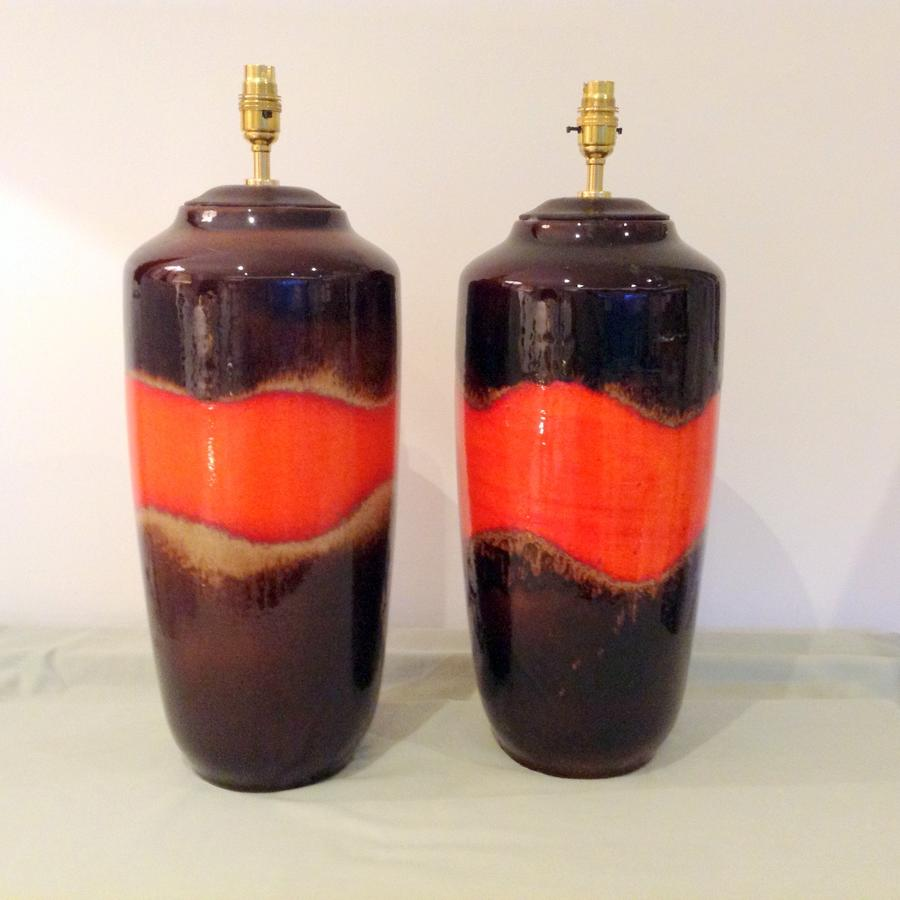 Pair large brown and orange lamps