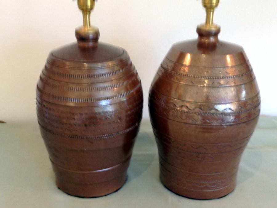 Pair Staffordshire stoneware barrels