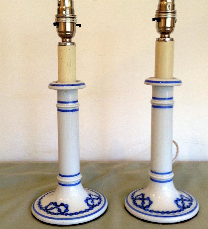 Pair white ceramic candlesticks, blue border