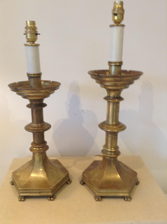Two heavy brass church candlesticks