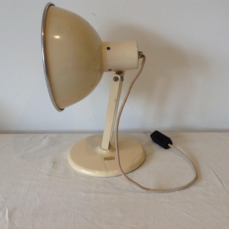 `1940's cream metal desk lamp