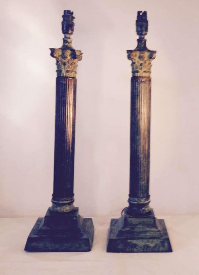 Pair Verdigris Columns