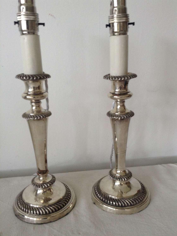 Pair Sheffield plate candlesticks