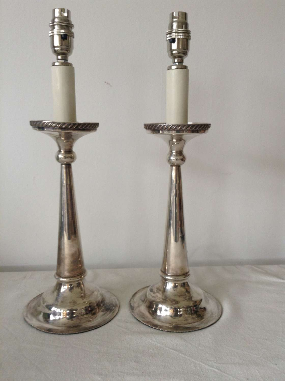 Pr Art Deco  silver plated lamps