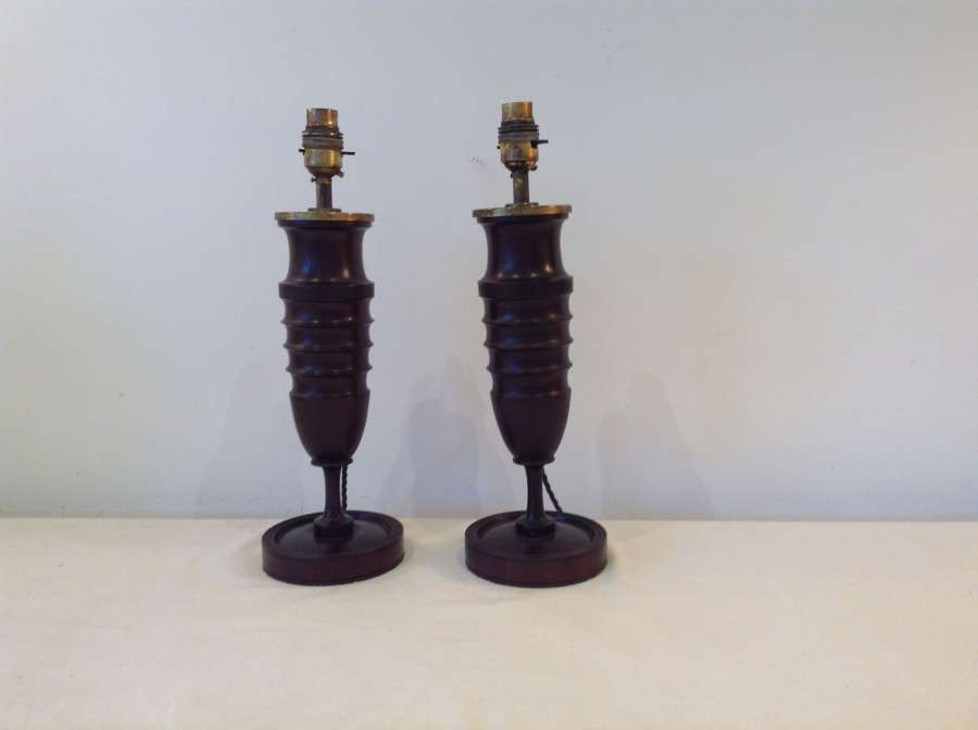 Arts & Crafts mahogany lamps