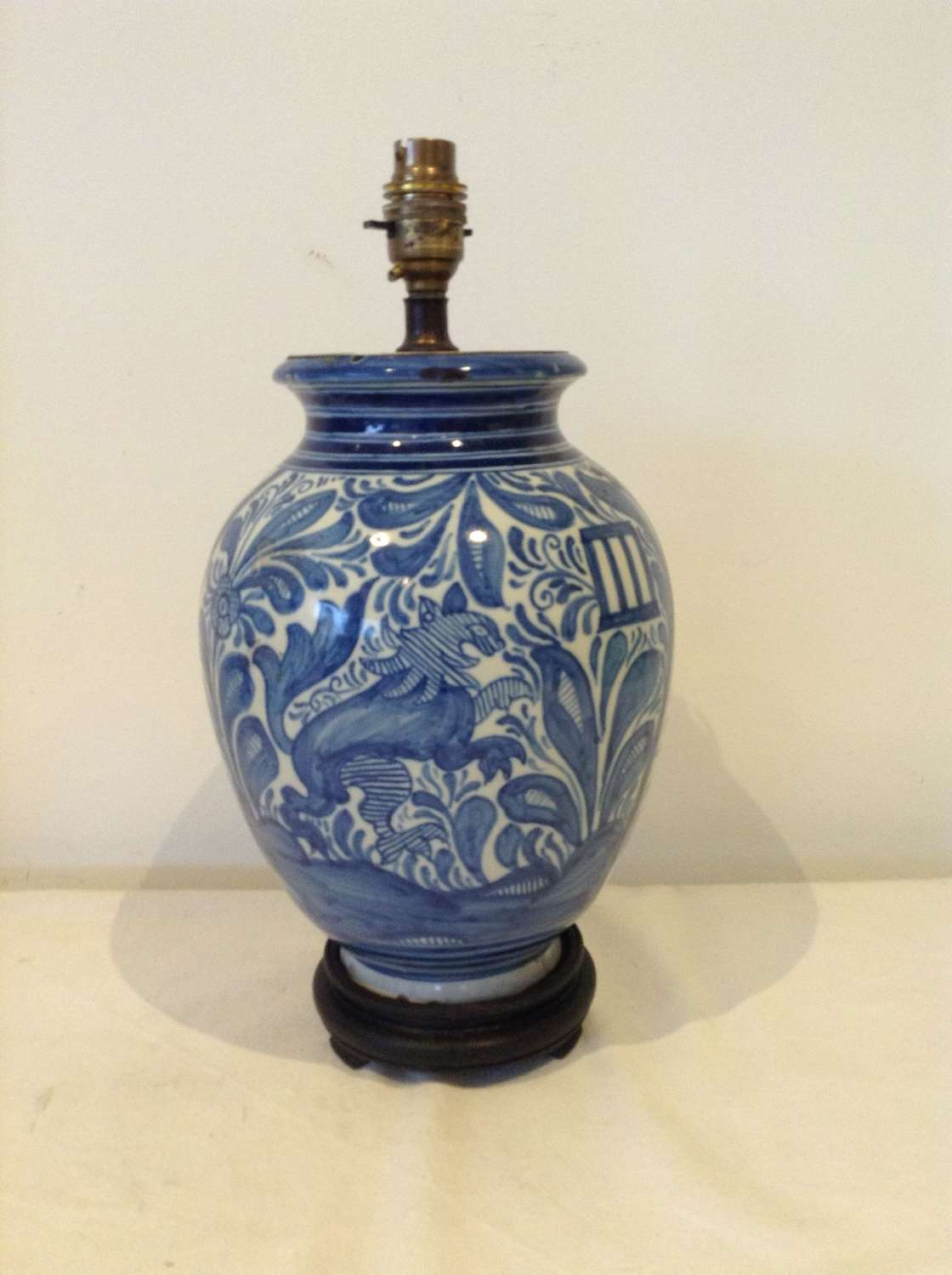 Spanish blue and white Talavera lamp