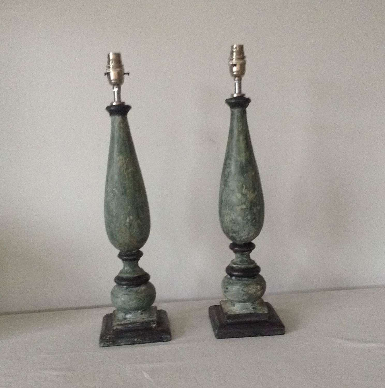Pair green painted wooden ballusters