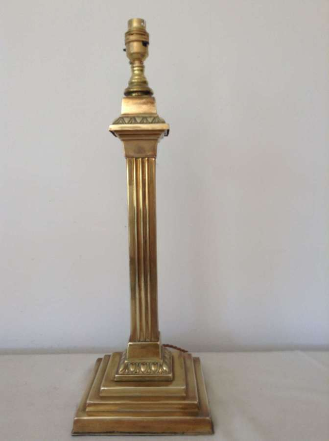 Victorian square brass column lamp
