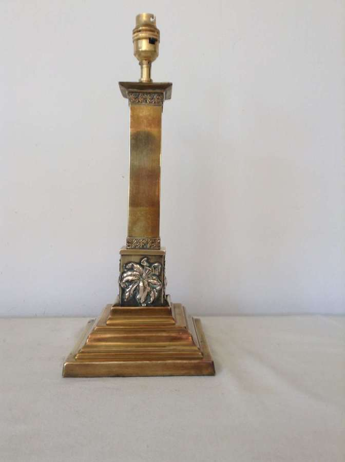 Victorian brass column lamp with lilies