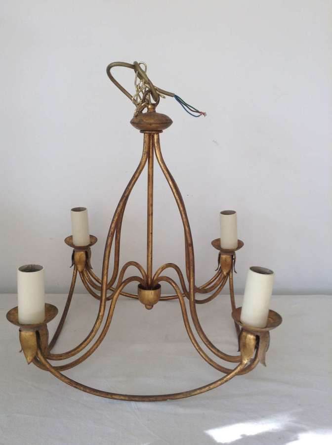 Gold painted 4-arm metal chandelier mid-20th century