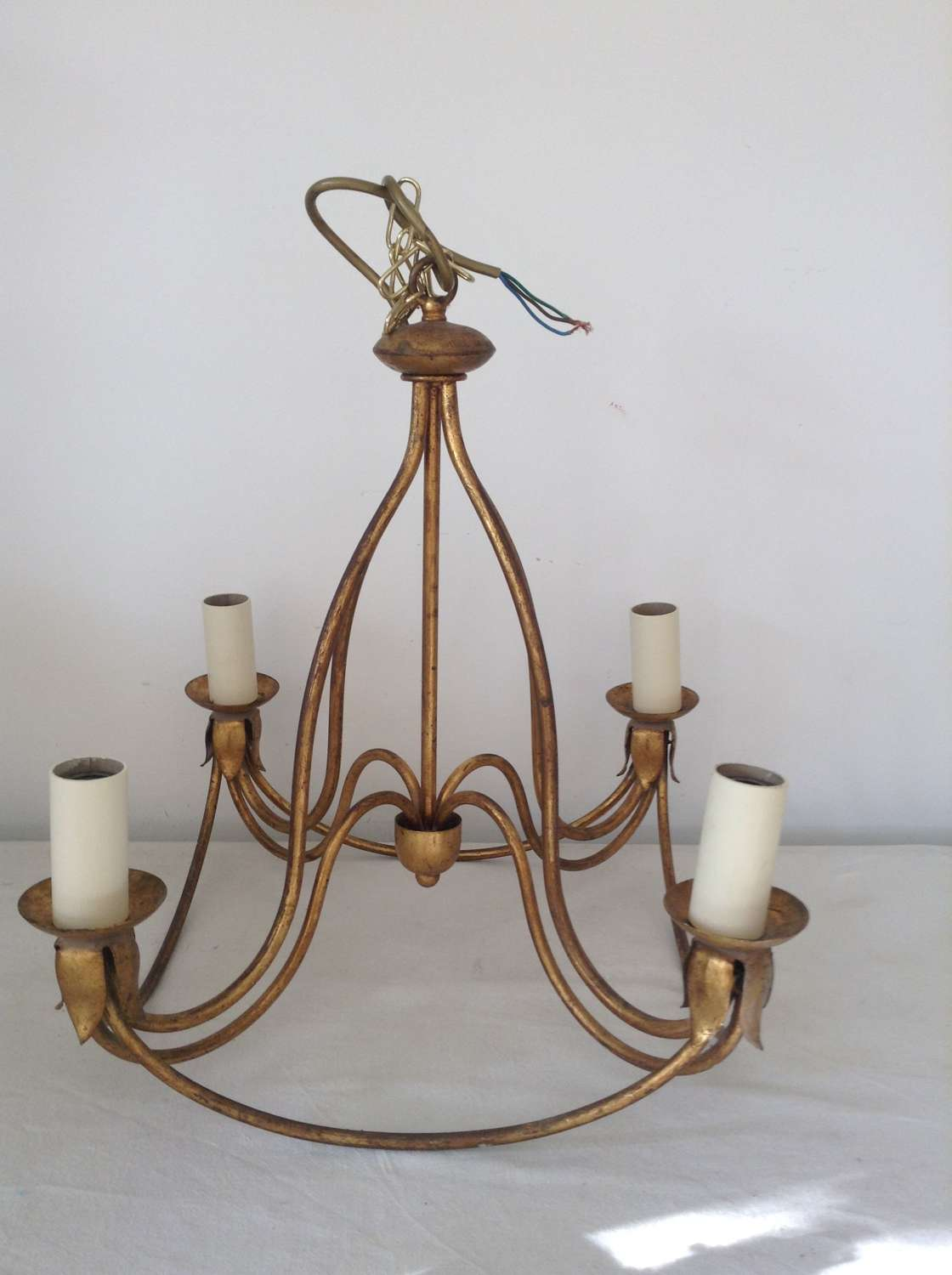 Gold painted 4-arm metal chandelier Mid 20th century